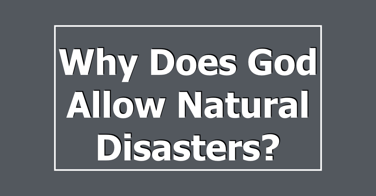why does god allow natural disasters The question that comes to the mind of any sensitive christian who reflects on the  magnitude of a natural disaster, is: why did god allow such a catastrophe to.